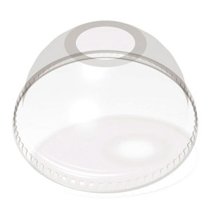 Dome lid for 12-20 oz custom printed compostable plastic cups